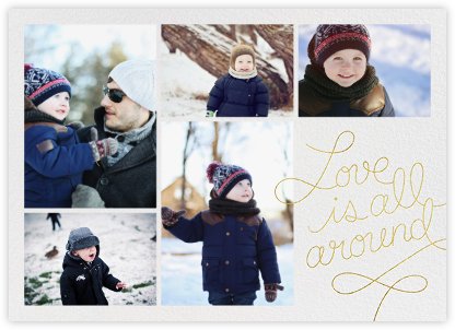 Love Is All Around - Gold - Paperless Post - Holiday Cards