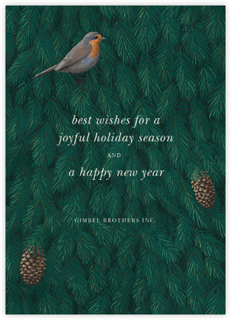 Robin in Blue - Paperless Post - Company holiday cards