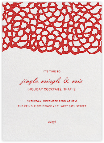 Gardenia - Ivory/Red - Oscar de la Renta - Wedding Invitations