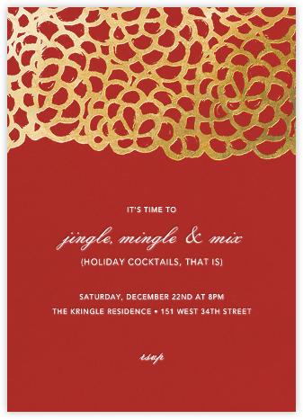 Gardenia - Red/Gold - Oscar de la Renta - Holiday invitations
