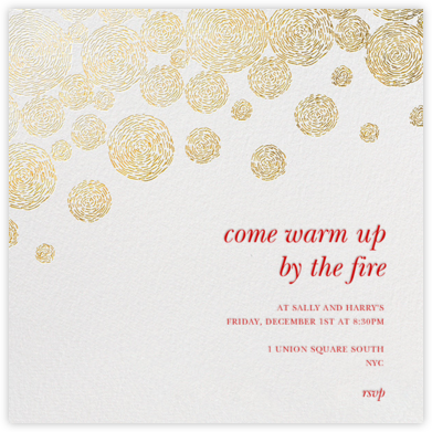 Radiant Swirls (Square) - Gold - Oscar de la Renta - Christmas invitations