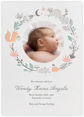 Bandit's Wreath - Little Cube - Woodland Baby Shower Invitations