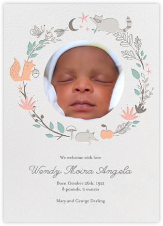 Bandit's Wreath - Little Cube - Woodland Baby Shower Invitations