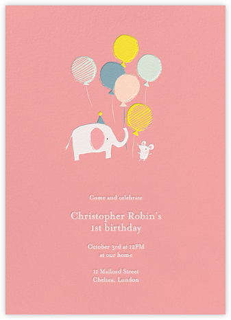 Ellie's Party - Blossom - Little Cube - First Birthday Invitations