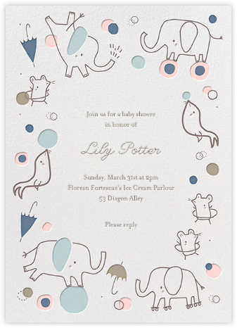 Circus Tricks - Little Cube - Elephant Baby Shower Invitations