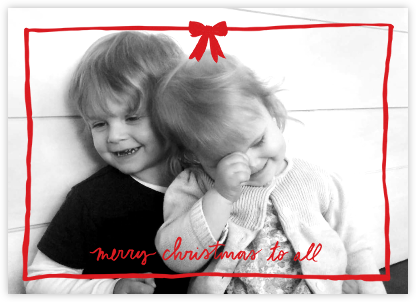 Christmas Bow Frame (Horizontal) - Red - Linda and Harriett - Christmas Cards