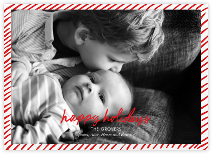 Candy Stripe Holiday (Horizontal) - Linda and Harriett - Holiday Cards