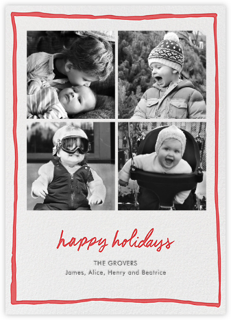 Holiday Windowpane - Red - Linda and Harriett - Holiday Cards