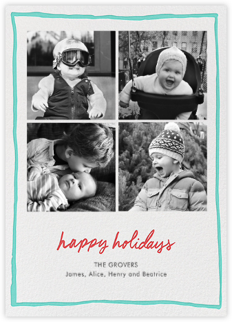Holiday Windowpane - Teal - Linda and Harriett - Holiday Cards