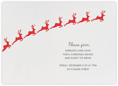 Santa's Prancers - White - Linda and Harriett - Holiday invitations