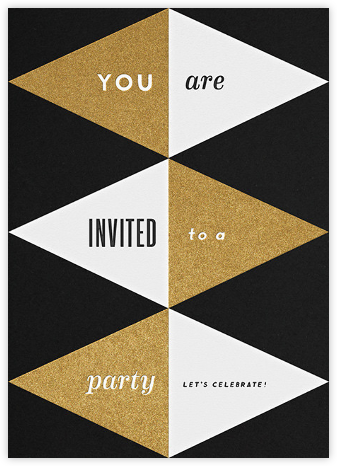 Deco Invite - Black And Gold - The Indigo Bunting - New Year's Eve Invitations