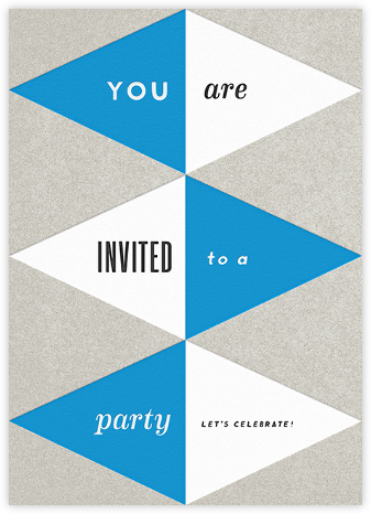 Deco Invite - Blue and SIlver | tall