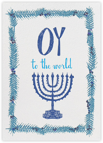 Oy to the World - Blue - Mr. Boddington's Studio - Hanukkah Cards