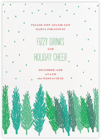 Gather Around the Tree - Green - Mr. Boddington's Studio - Business Party Invitations