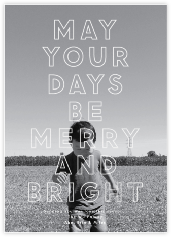 Merry and Bright Big Type - The Indigo Bunting - Holiday photo cards