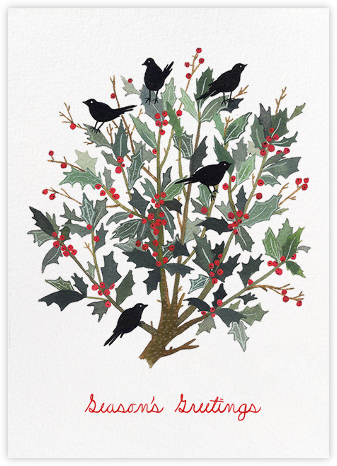 Black Bird Wreath (Becca Stadtlander) - Red Cap Cards - Holiday Cards