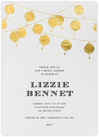 Lanterns (Gold) - Paperless Post - Bridal shower invitations