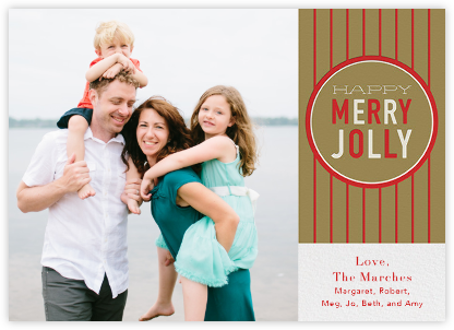 Happy Merry Jolly Stripes - Gold - Paperless Post