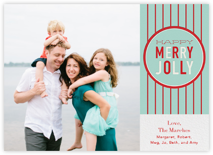 Happy Merry Jolly Stripes - Celadon - Paperless Post -