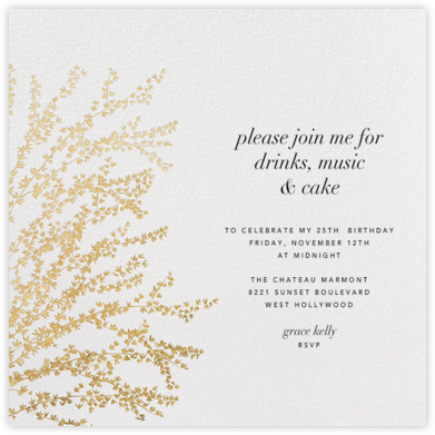 Forsythia - Gold - Paperless Post - Adult Birthday Invitations