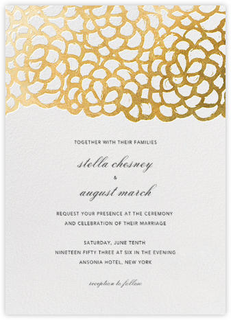 Gardenia - White/Gold - Oscar de la Renta - Modern wedding invitations