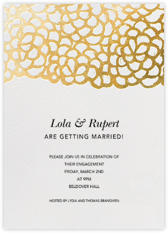 Gardenia - White/Gold - Oscar de la Renta - Engagement party invitations