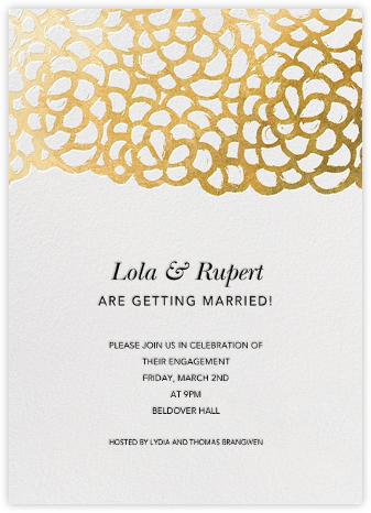 Gardenia - White/Gold - Oscar de la Renta - Engagement party invitations