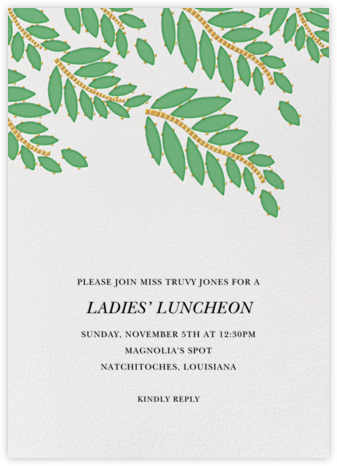 Cabochon Leaves - Green - Oscar de la Renta - Brunch invitations