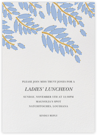 Cabochon Leaves - Blue - Oscar de la Renta - Brunch invitations