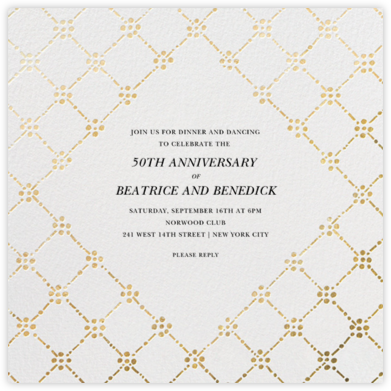 Pearl Embroidery (Square) - Gold - Oscar de la Renta - Anniversary party invitations