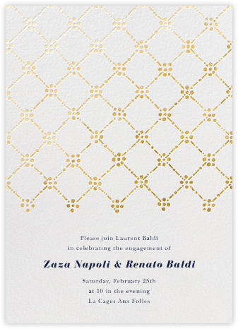 Pearl Embroidery (Tall) - Gold - Oscar de la Renta - Engagement party invitations