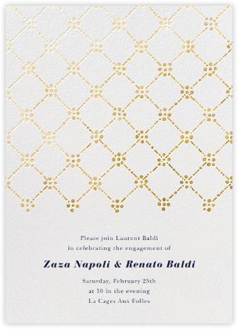 Pearl Embroidery (Tall) - Gold - Oscar de la Renta - Engagement party invitations