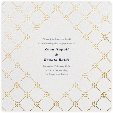 Pearl Embroidery (Square) - Gold - Oscar de la Renta - Engagement party invitations