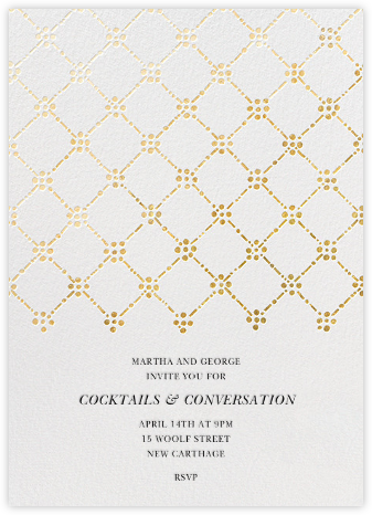 Pearl Embroidery (Tall) - Gold - Oscar de la Renta - Dinner party invitations