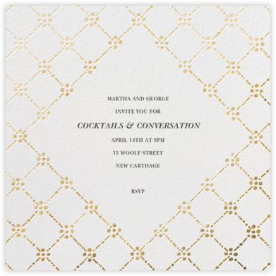 Pearl Embroidery (Square) - Gold - Oscar de la Renta - Dinner Party Invitations