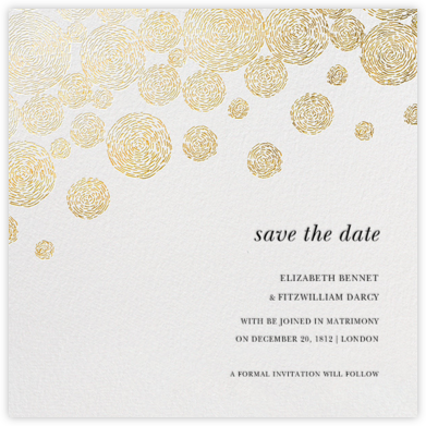 Radiant Swirls (Save the Date) - Gold - Oscar de la Renta - Oscar de la Renta Cards