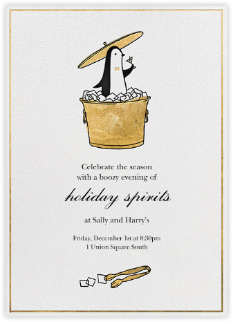 Butler in the Ice Bucket - Gold - Paperless Post - Holiday party invitations