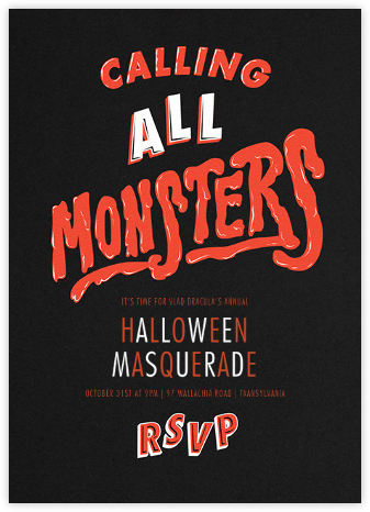 Horror Strikes at Midnight - Black - Paperless Post - Halloween invitations