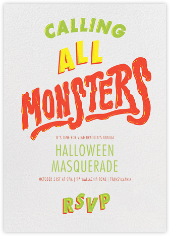 Horror Strikes at Midnight - Ivory - Paperless Post - Halloween invitations