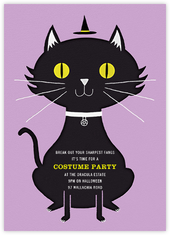Black Cat in the Hat - Paperless Post - Halloween invitations