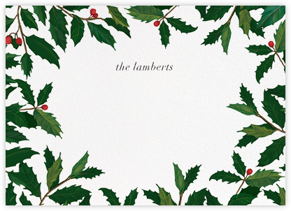 English Holly Border - Horizontal - Paperless Post - Personalized Stationery