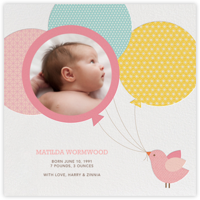 Bird Balloon - Pink  - Petit Collage - Birth Announcements