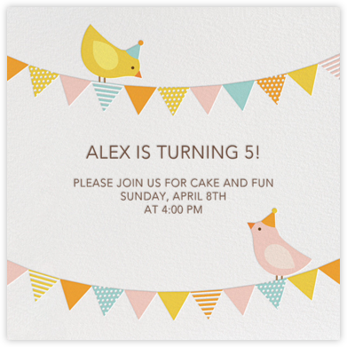 Bird Party - Pink - Petit Collage - Online Kids' Birthday Invitations