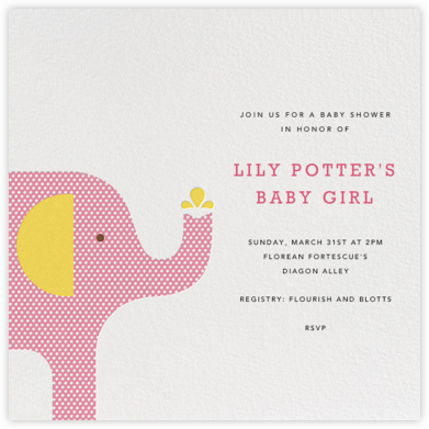 Modern Elephant - Pink - Petit Collage - Baby shower invitations
