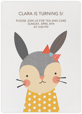Girl Rabbit - Petit Collage - First Birthday Invitations