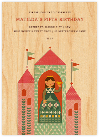 Princess Castle - Teal - Petit Collage - Online Kids' Birthday Invitations