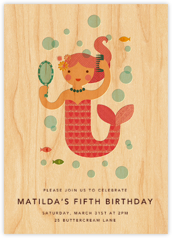 Mermaid Princess - Pink - Petit Collage - Online Kids' Birthday Invitations