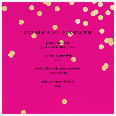 Come Celebrate - Bright Pink/Gold - kate spade new york - Adult birthday invitations