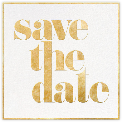 A Golden Date - White/Gold - kate spade new york - Kate Spade invitations, save the dates, and cards
