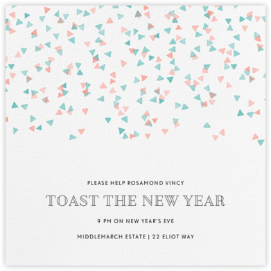Confetti Cannon - Coral and Persian - Paperless Post - New Year's Eve Invitations
